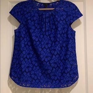 J.Crew Lace Blouse Size 10 Blue EUC